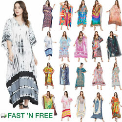 Women Boho Kaftan Kimono Maxi Dress Beach Holiday Plus Size Loose Long Sundress