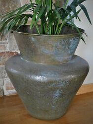 Antique Islamic Huge Etched Brass Jardiniere Middle Eastern Planter Calligraphy