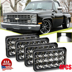 4x6 H4 Black Led Headlight Sealed Hi/lo Beam For Chevy Pickup Truck 81-87 Ford