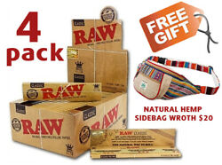 4 Pack Lot Raw Classic King Size Slim Rolling Paper Full Box 50 Packs Free Gift