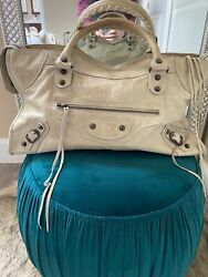 Balenciaga Beige Leather Motorcycle Part-Time Bag $350.00