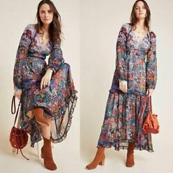 New Anthropologie Maeve Annabella Printed Maxi Dress Size 0 Retail 178