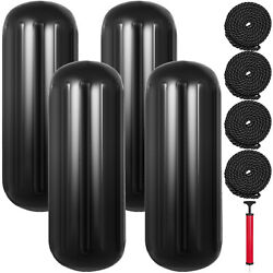 4 New Ribbed Boat Fenders 10x28 Black Center Hole Bumpers Mooring Protection