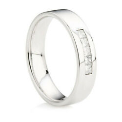 0.15 Ct Princess Cut Natural Diamond Mens Band 14k White Gold Father Day Size S