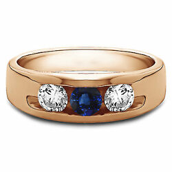 0.35 Ct Natural Diamond Blue Gemstone Sapphire Rings 14k Rose Gold Band Size T