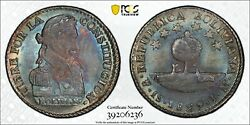 1829 Pts Jm Bolivia Sol Pcgs Ms65 Finest Known Amazing Color Silver Coin