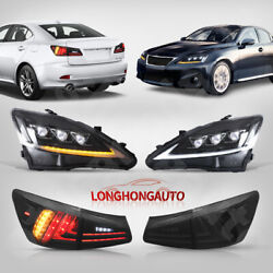 6 Pcs Black Led Headlights And Tail Lights Set For 06-12 Lexus Is 250 Is 350 Isf