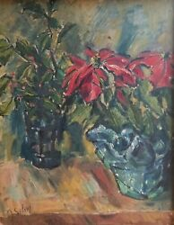 Janis Silins 1896-1992 Latvian / Amer Expressionist Holly And Poinsettia Riga Oil