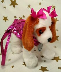 Poochie & Co Plush Pink Puppy Dog Purse Bag Stuffed Animal with Sequins 11