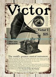 dorm room buy posters Victor talking machine record phonograph tin sign