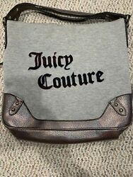 Juicy Couture Leather Cotton Slouch Hobo Bag Purse 3 Compartments Gray Silver $5.99