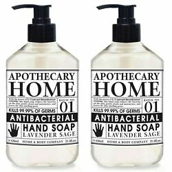 New Set Apothecary Home And Body Co Antibac Hand Soap 2 21.5oz Lavender Sage Sct