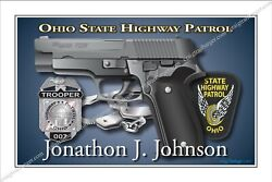Police,ohio,state,trooper,highway,patrol,retirement,promotion,badge,gift