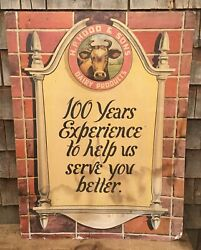 🔥super Rare 1948 Hood And Sons Dairy 100years Anniversary Display Sign Cow L@@k🔥