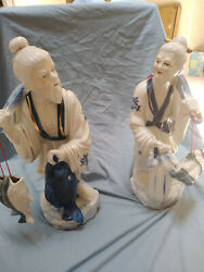 Antique Statue Chinese Fisherman Couple Large Blue White Porcelain Figurine