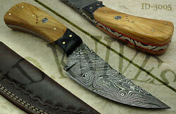 Best Hunting Knife Olive Wood With Buffalo Horn+leather Sheath