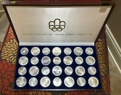 1976 Silver Canadian Montreal Olympic Games Set - 28 Coin In Original Box