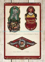 Metal Signs Vintage Reproduction Baseball Louisville Slugger Decals Tin Sign