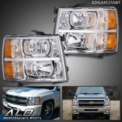 Fit For 07-13 Chevy Silverado 1500/2500/3500 Amber Headlights Chrome Replacement