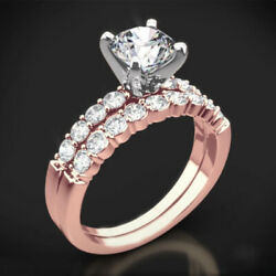 1.10 Ct Round Solitaire Diamond Wedding Rings 14k Rose Gold Band Set Size 5 6 7