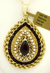 Genuine Garnet And Pearl Locket Pendant 14k Yellow Gold Brand New With Tag