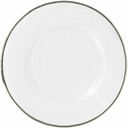 American Atelier Linen Round Glass 13 Charger Plate Event Wedding Decor Silver