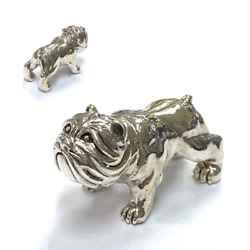 Collectable Victorian Style Pitbull Dog Figurine 925 Sterling Silver