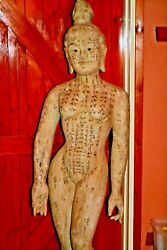 Large 5ft 19th Century Carved Wood/painted Chinese Acupuncture Statue C 1890