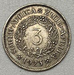 1923 South Africa 3 Pence Silver Vf Very Fine Coin Km A15
