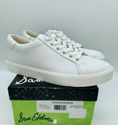 Sam Edelman Ethyl Women#x27;s Leather Lace Up Sneakers White $39.99