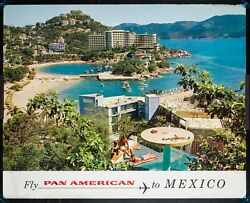 Large Orig 35 X 44 Pan Am Airlines Poster 1960s Acapulco, Mexico P-27e 7-65