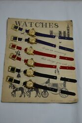 Rare 6 Vintage Kids Tin Toy Watches On Store Display- Japan 60´s