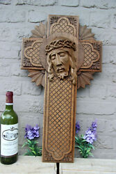 Rare Large Antique French Religious Wood Carved Christ Portrait Crucifix Cross
