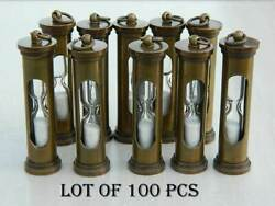 Collectible Brass Sand Timer Key Ring Lot Of 100 Pcs Antique Finish Marine Gift