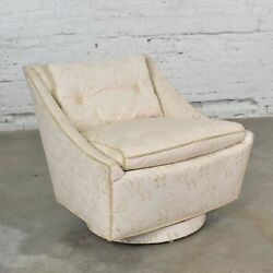Vintage Art Deco Petite White Swivel Chair With Embroidered Leather By Oxford Lt