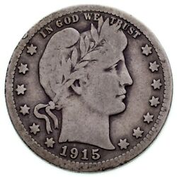1915-s 25c Barber Quarter In Vg Condition Natural Color Nice Detail For Grade
