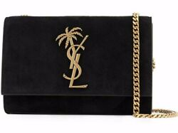 Saint Laurent YSL Monogram Small Kate Black Suede Palm Tree Wallet On Chain Bag $1,347.75