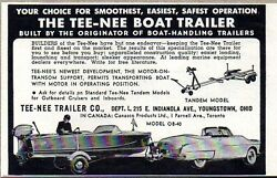 1954 Print Ad Tee-nee Boat Trailers Made In Youngstownohio
