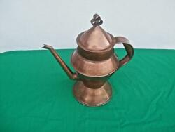 Vintage Hand Forged Copper Coffee / Tea Pot With Lid Signed And Dated 1970