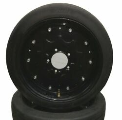 2 New 25 Inch Tall Batwing Shredder Foam Filled Solid Tires Mounted On Rims Fs