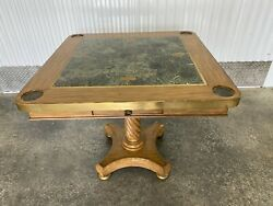 Maitland Smith Classic Vintage Square Game Table W/ Marble Top And Brass Trim
