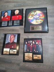 Lot Star Trek And Next Generation Limited Edition Plaques Signed Laser Etched
