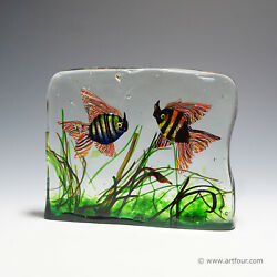 A Very Large Cenedese Aquarium With Two Fishes, 6.15 Kg, Ca. 1960