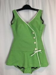 Vtg Mid Century Retro Pinup One Piece Swimsuit Green White Buttons Channel West