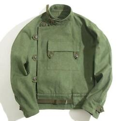 Sweden Men Coat Driver Jacket Worker Cotton Cargo Motorcycle Army Green Military