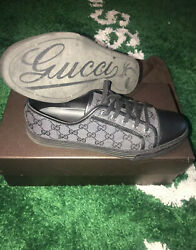 Black Gg Low Top Sneakers Size 9.5 Lace Up Monogram Canvas Shoes Euc