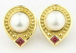 Gorgeous Jj Marco 18k Yellow Gold Pearl And Pink Sapphire Etruscan Drop Earrings