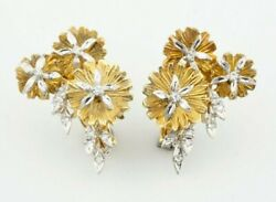 Unique 14k Two-tone Gold Huggie Flower Earrings With 0.30 Cts Diamond Accents