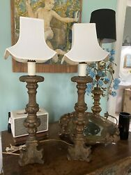 Pair 1920's Carved Gilt Ornate Plaster Candlestick Lamps Deco Asian Shades
