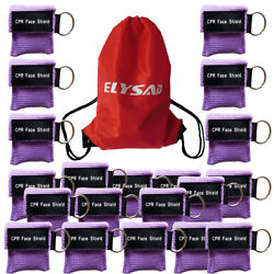 100pcs Cpr Mask With Keychain Cpr Face Shield Key Aed Pocket Mask Purple